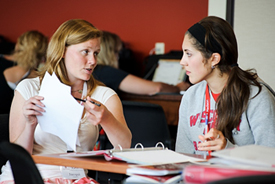 College of Letters and Science advisor Jacqui Guthrie, left, works with incoming first-year undergraduate Samantha Scheidt to register for Scheidt's classes during a Student Orientation, Advising and Registration (SOAR) session at Union South at the University of Wisconsin-Madison on July 13, 2011. Sponsored by the Center for the First-Year Experience, the two-day SOAR sessions provide new students and their parents and guests an opportunity to meet with staff and advisors, register for classes, stay in a residence hall, take a campus tour and learn about campus resources. (Photo by Jeff Miller/UW-Madison)